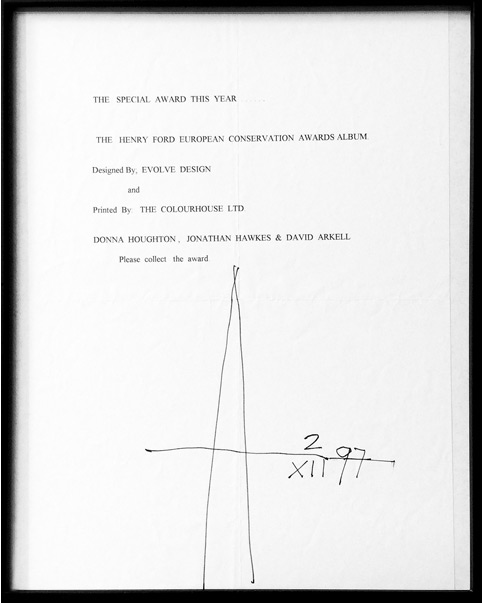 Treasured speach notes from Pentagram's Alan Fletcher after he presented us with a special design award (and his infamous signature)
